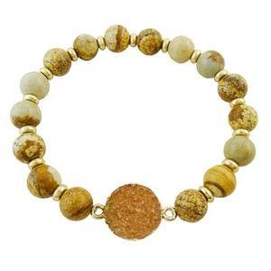 Natural Druzy Stone Beaded Bracelet